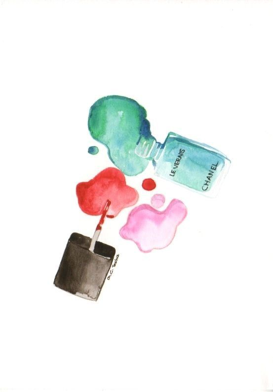 Chanel nail polishes - Watercolor Make-Up illustration ...