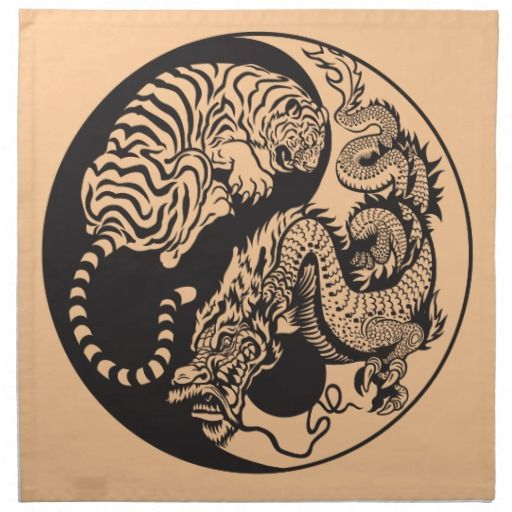 Dragon And Tiger Yin Yang Symbol Napkin Zazzle Com Cool Art