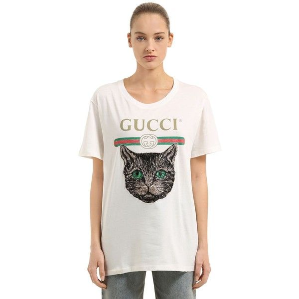 d0fa41bc5b3b Gucci Women Sequined Cat   Logo Print Jersey T-shirt (1 045 AUD ...
