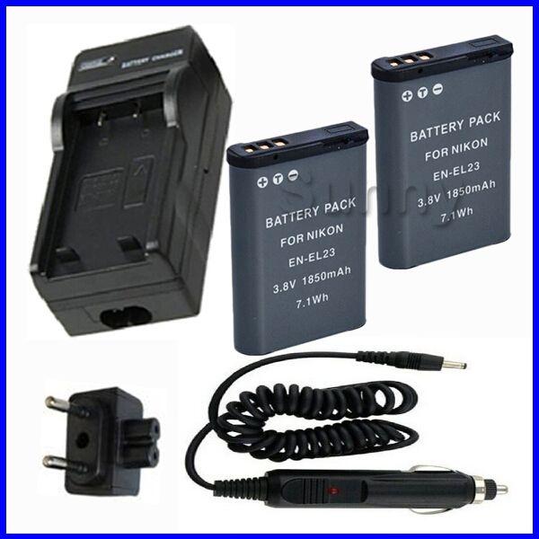 to Buy Battery 2 Pack and Charger for Nikon EN EL23 EN