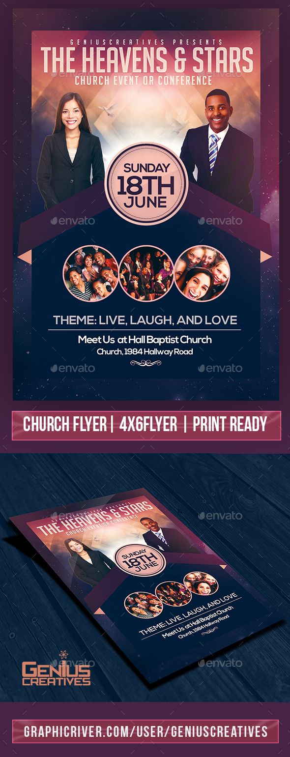 Heaven And Stars Church Flyer Template  Flyer Template Template