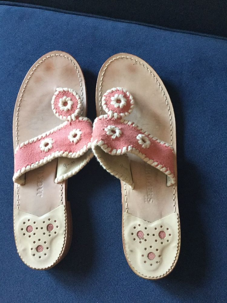 5cbbc011a273 Jack Rogers Sandals Size 9 Navajo Style Canvas Pink Ivory  fashion  clothing   shoes