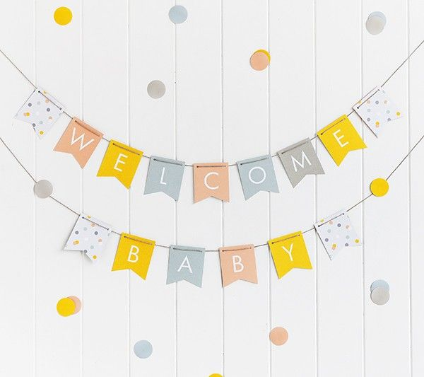 BUNTING & DECAL DECORATION KIT: BABY | Baby | Pinterest