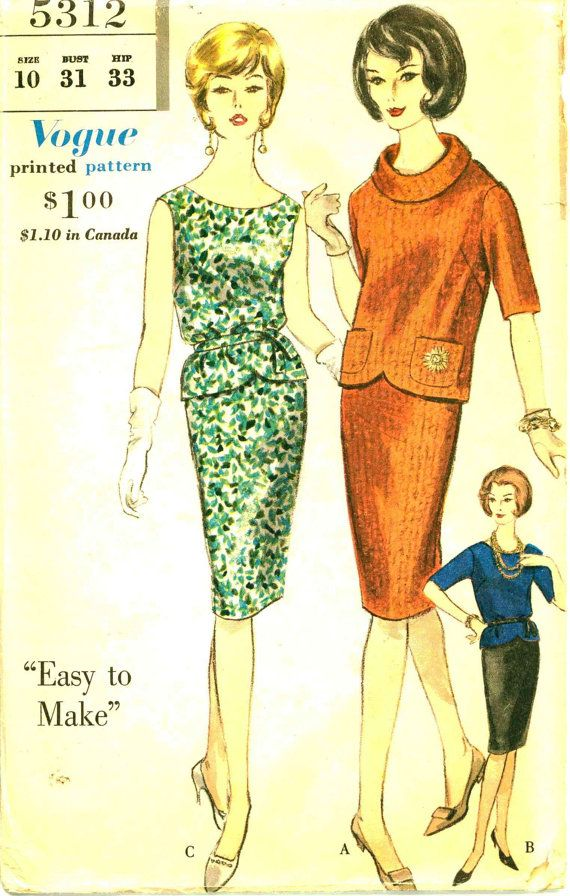 1960s Roll Collar Dress Pattern VOGUE 5312 Jackie Kennedy Style Two ...