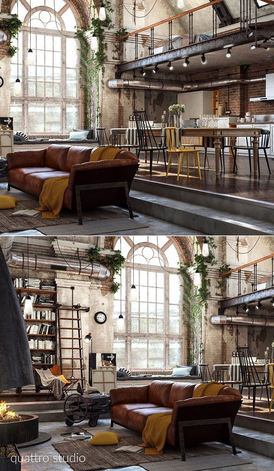 Home Designing Via 40 Incredible Lofts That Push Boundaries  # Branchement Meuble Tv Hdw