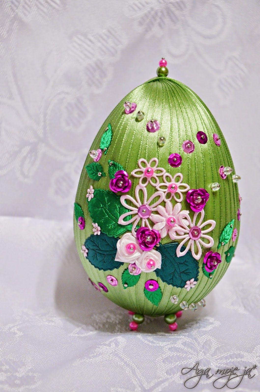 Handmadekursy ,wzory ,tutoriale: Wielkanocne Ozdobyjajko Ze Wstążki ·  Ribbon Artbeaded Ornamentschristmas