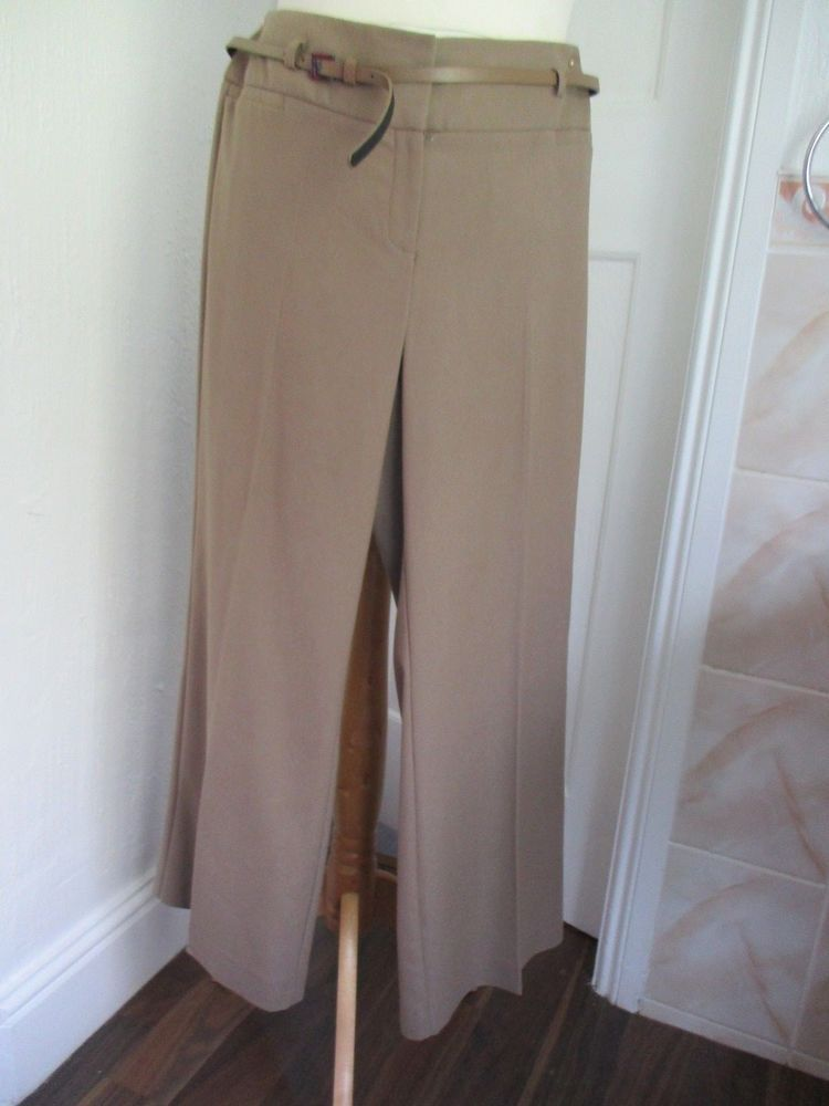 352a0c668e7 BEN DI LISI Principles Lt Brown Wide Leg Belted Trousers Size 14 petite   fashion  clothing  shoes  accessories  womensclothing  pants (ebay link)