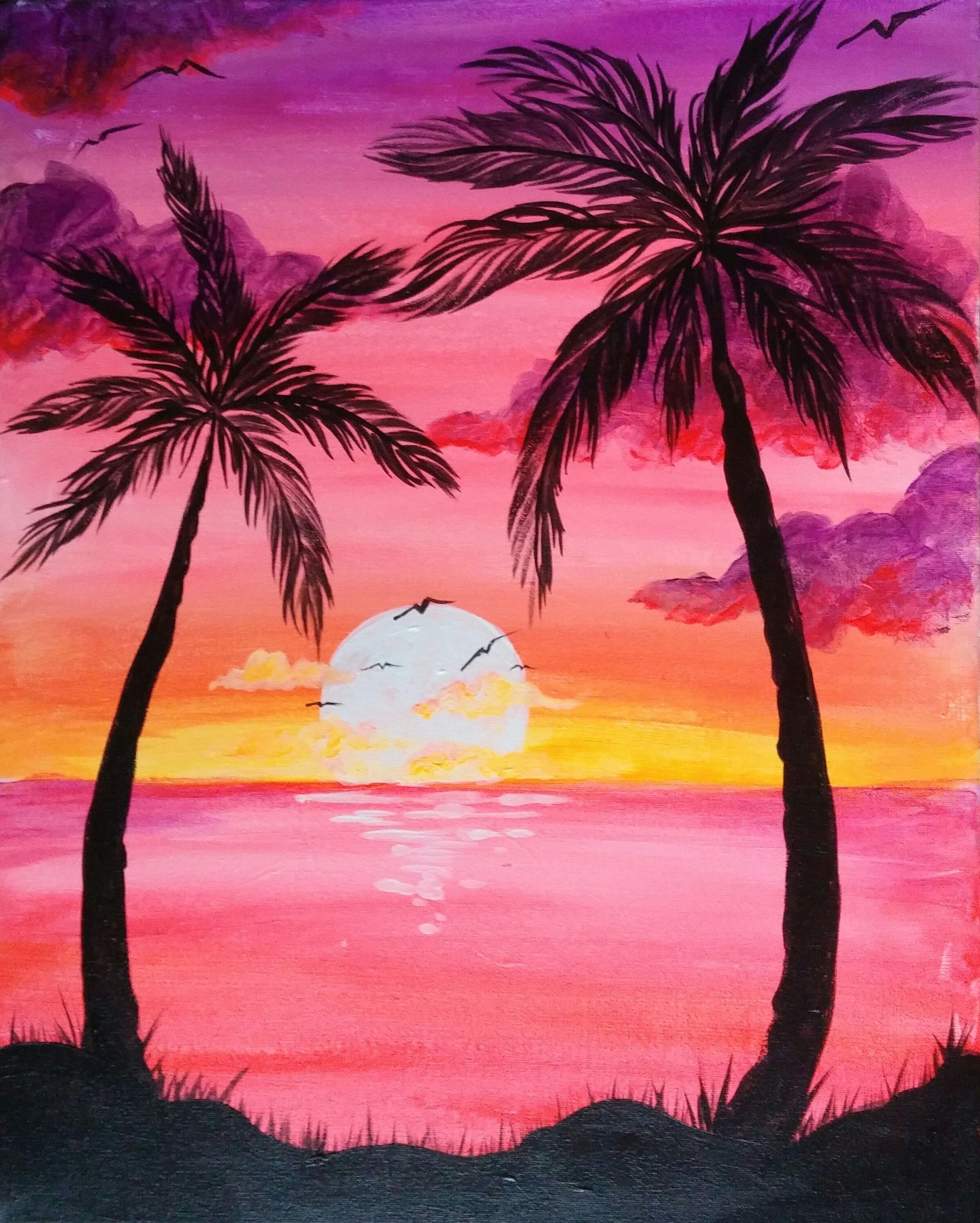 Get Your Friends And Plan A Girls Night Out At Pinot S Palette To Paint Sunset Palms Painting Easy Canvas