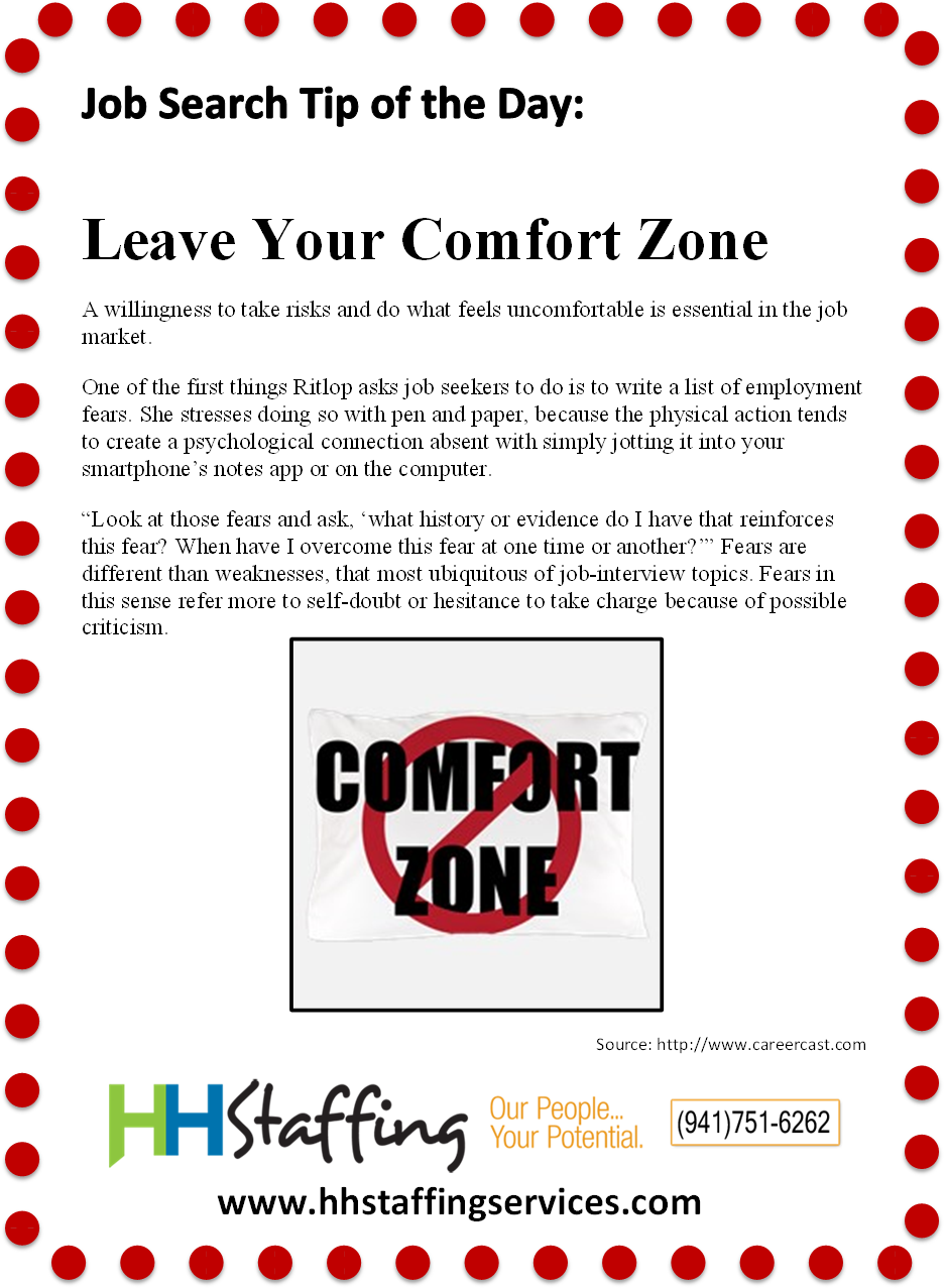 #JobSearch Tip Of The Day: Leave Your Comfort Zone To Reach #success In