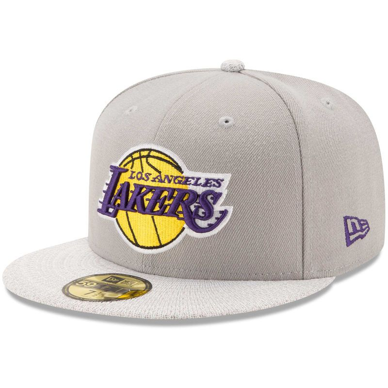 57750497c Los Angeles Lakers New Era Visor Fresh 59FIFTY Fitted Hat - Gray ...