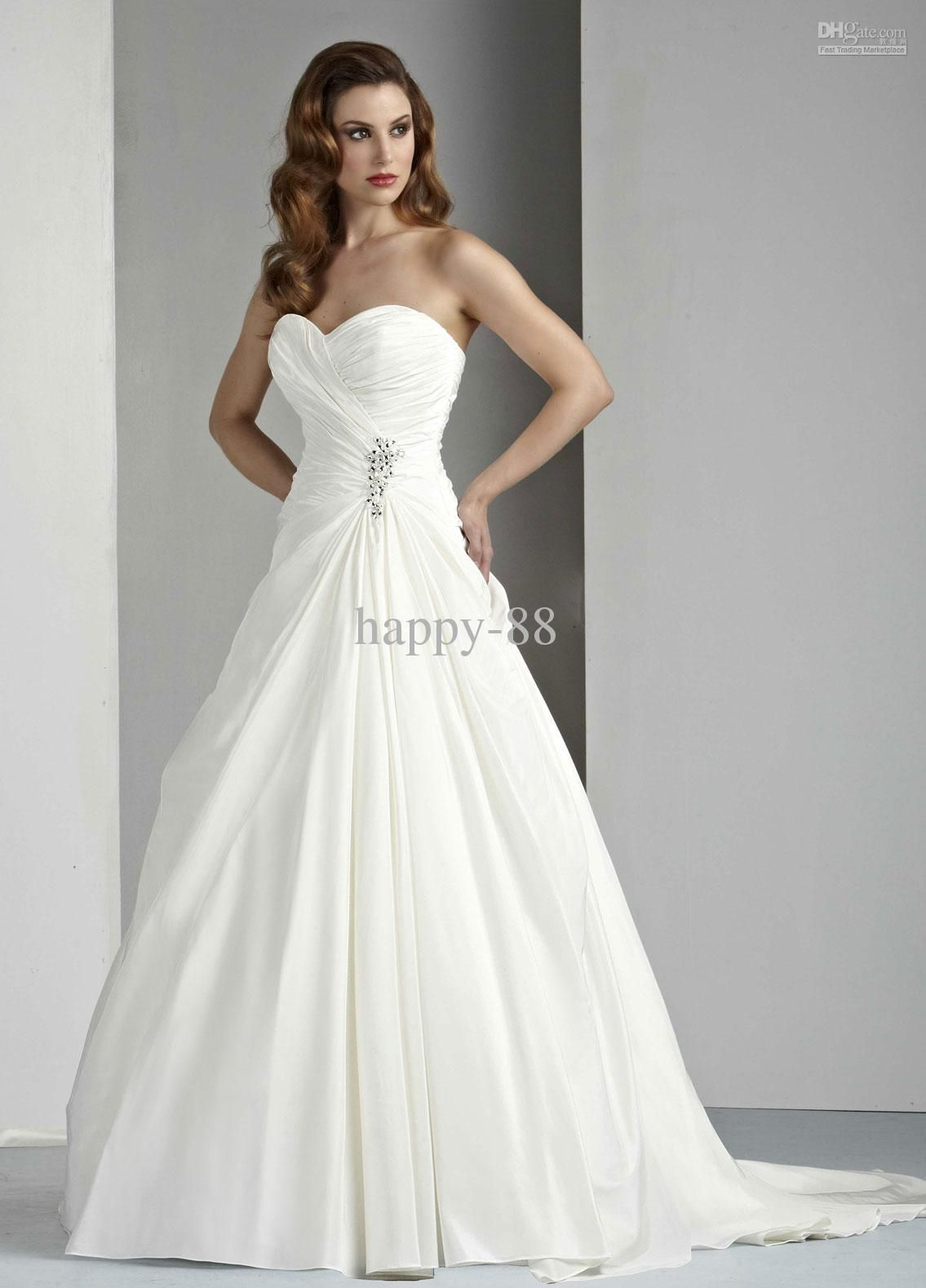 Chapel Train Ruffle Beading Appliques Lace Sequins Taffeta Up Strapless Sleeveless Church General No Spring Summer Fall Ivory White Wedding Dress: Taffeta Lace Wedding Dress Look No At Reisefeber.org
