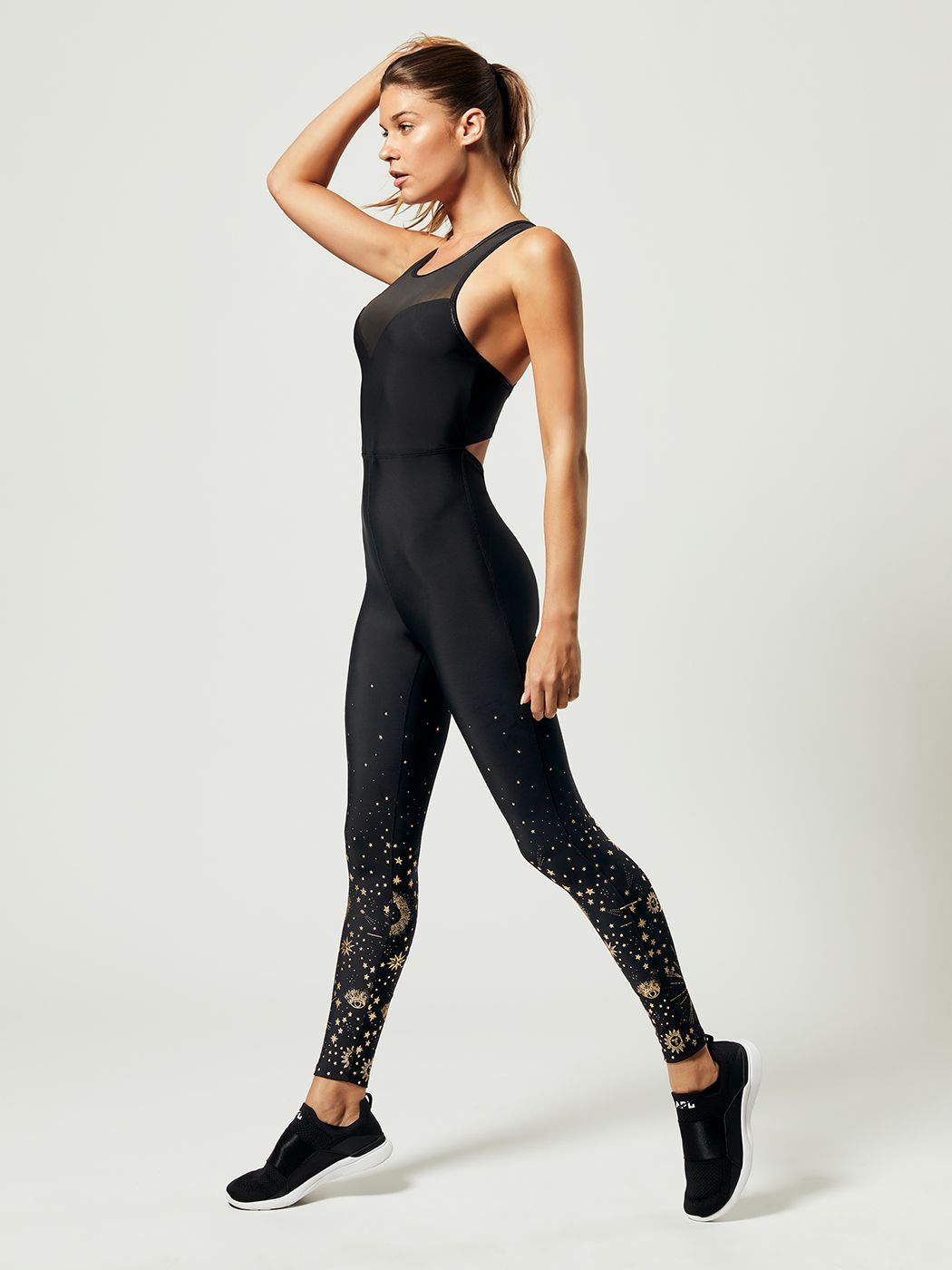 5f263cc7966 Cosmic Cross Back Catsuit Jumpsuit in Black Astrology Fade Print by  Carbon38 from Carbon38