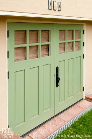Green Painted Carriage Doors