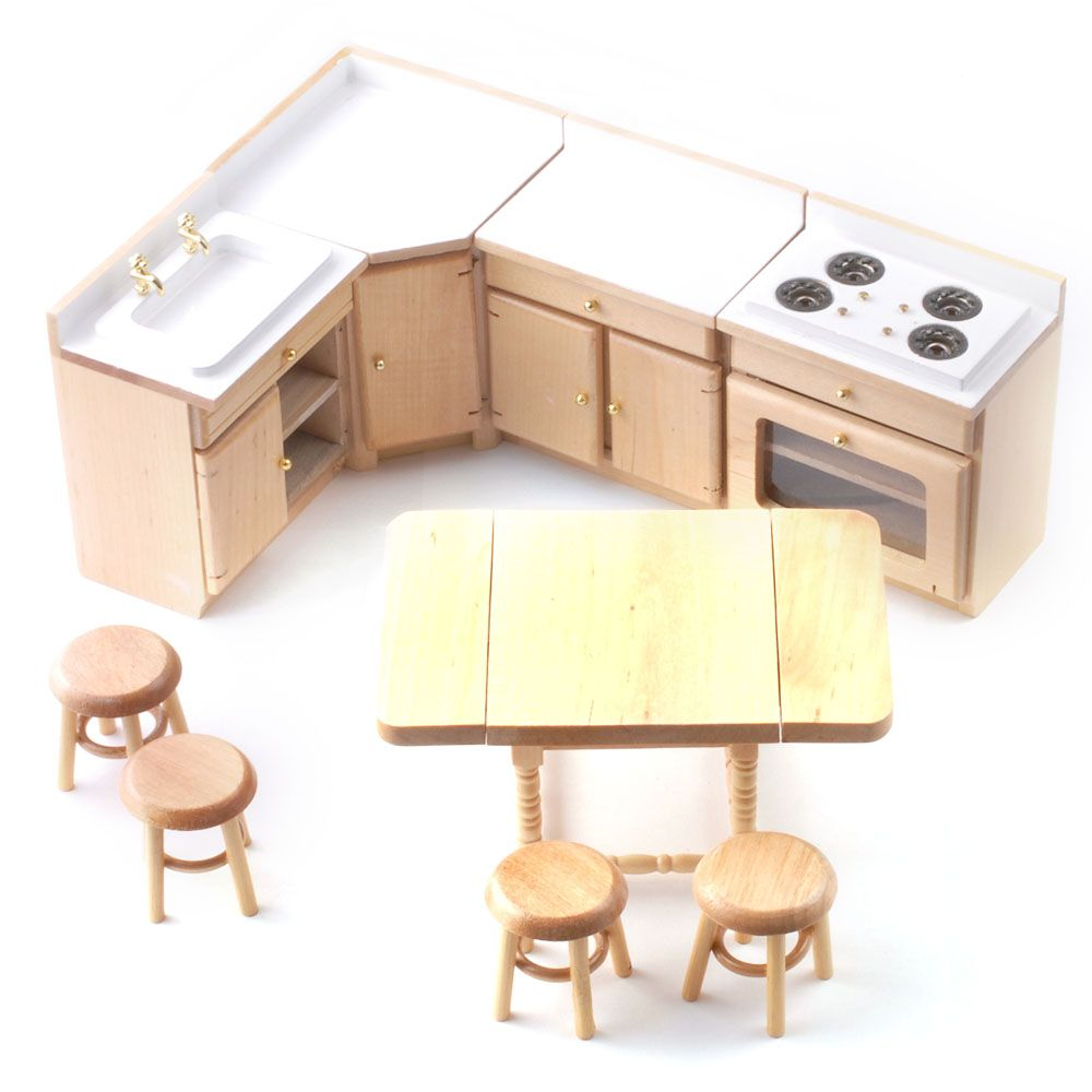 DF820 Dolls House Furniture Pine Kitchen