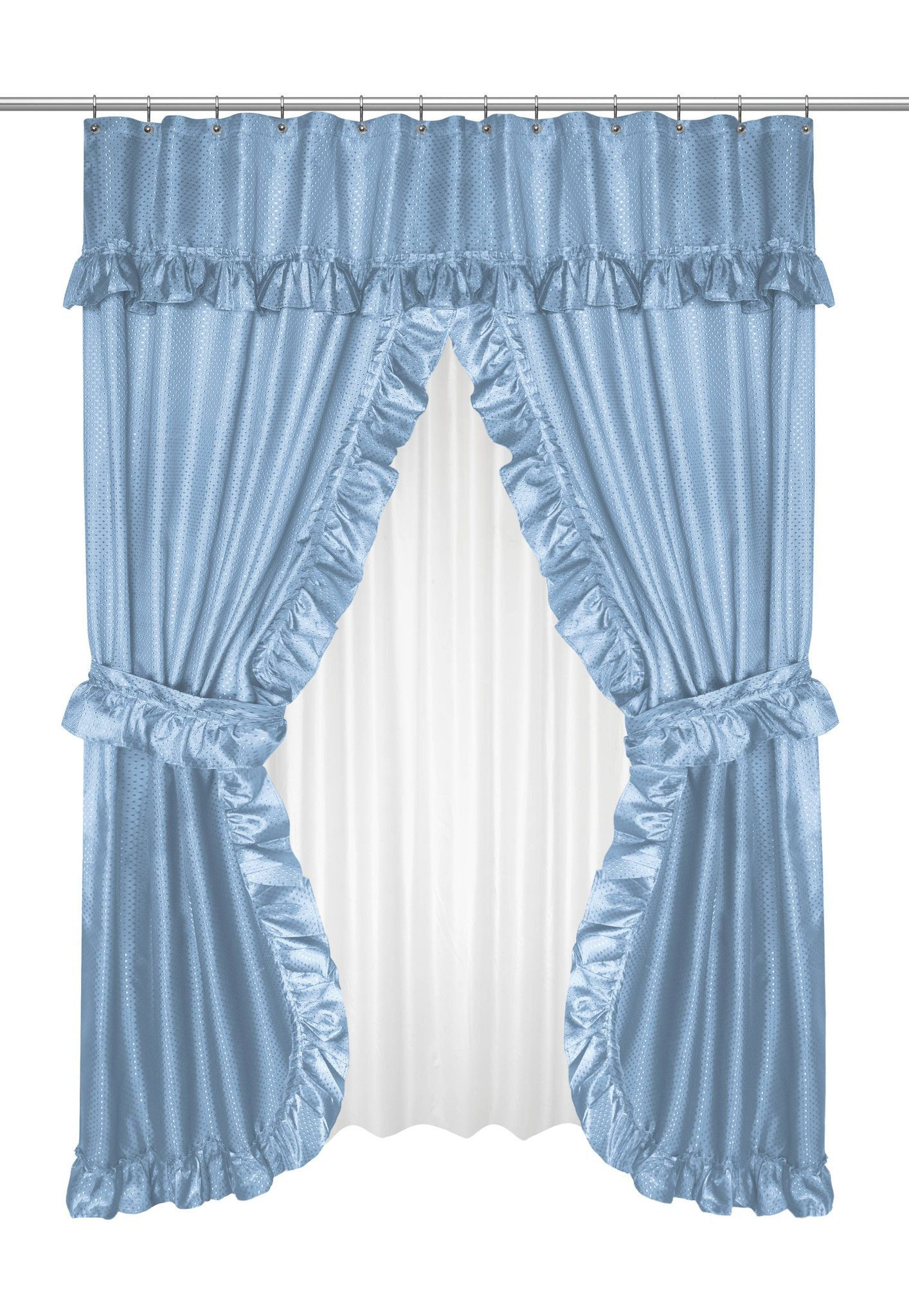 Royal Bath Double Swag Shower Curtain W Matching Window Curtain