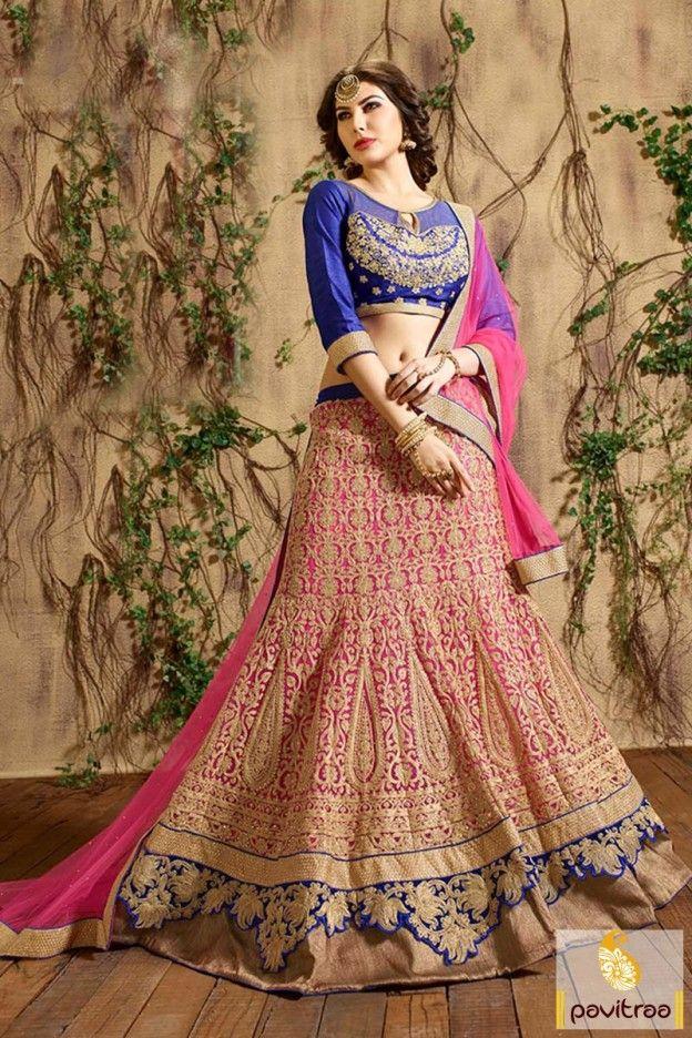 grab top best gujarati pink blue net designer chaniya choli for