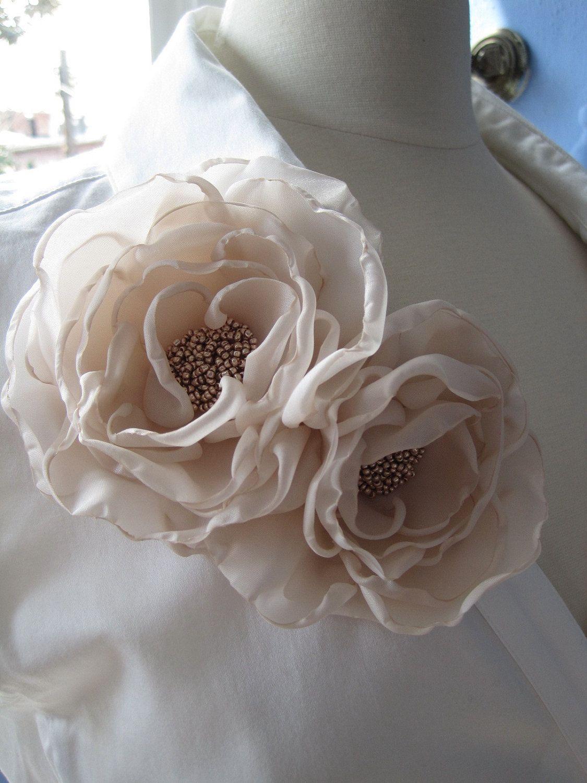 Beige Chiffon Butterfly Diamante Flower Hair Clip Dress Bag Pin Corsage Wedding