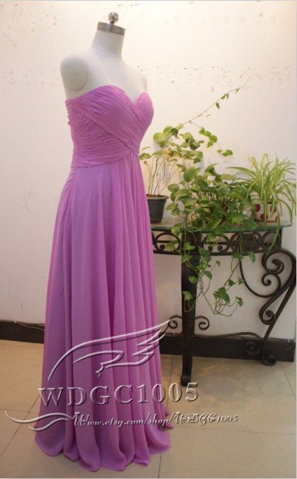 Elegant sweetheart chiffon bridesmaid dresses floor by WDGC1005
