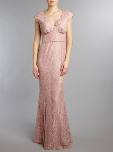 Ariella Long lace fishtail v neck dress Pink - House of Fraser ...