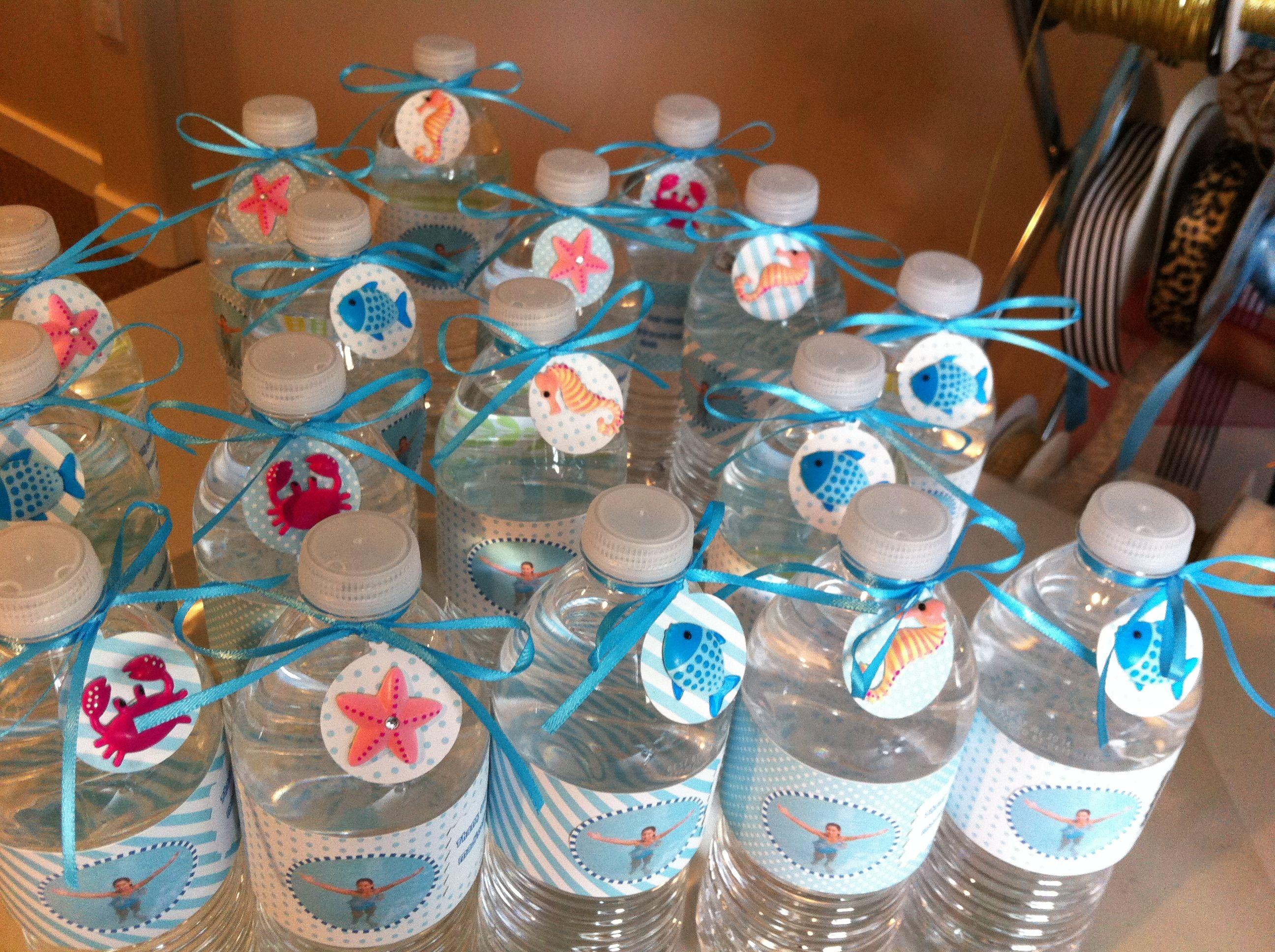 Kids Pool Party Water Bottle Favors