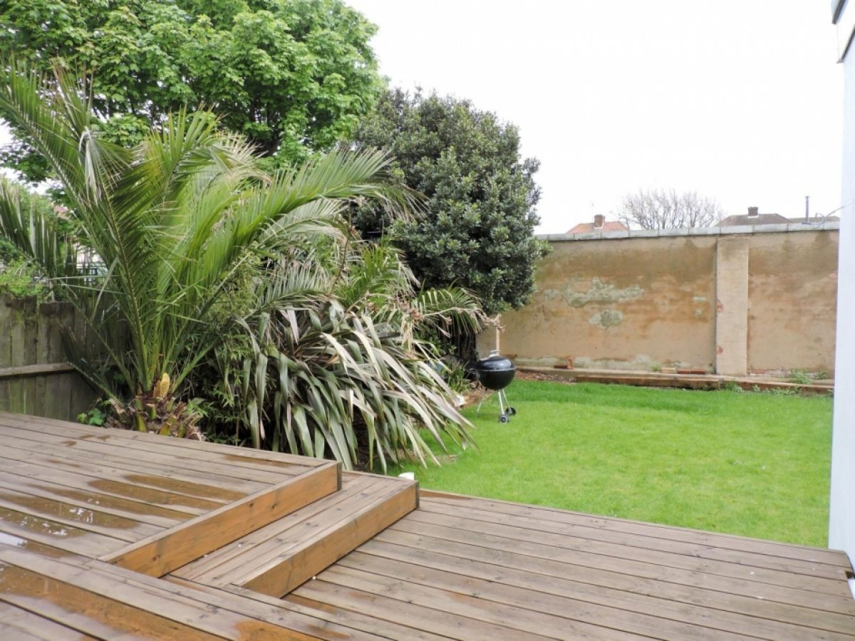 The decking added to the garden of