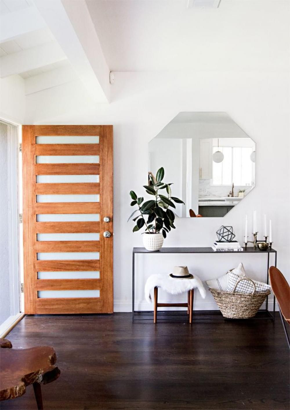 adorable wooden interior door design with plant on the top table rh pinterest com