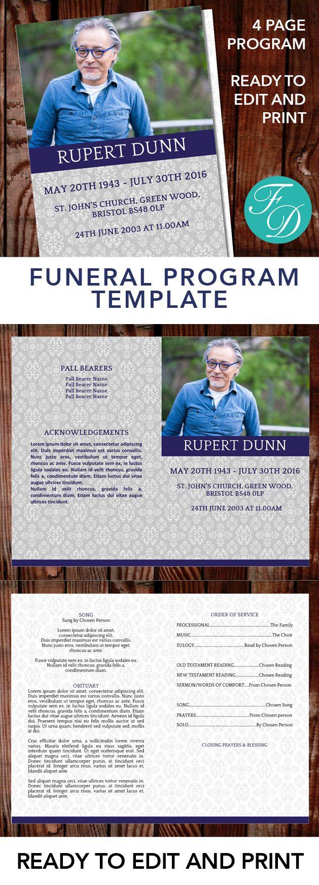 Printable Funeral program template, celebration of life, obituary ...