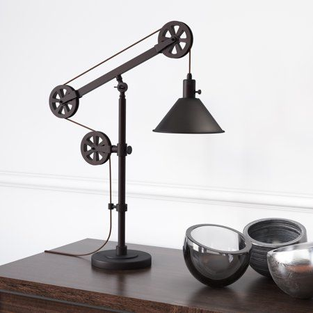 descartes industrial farmhouse table lamp in blackened bronze with rh pinterest com