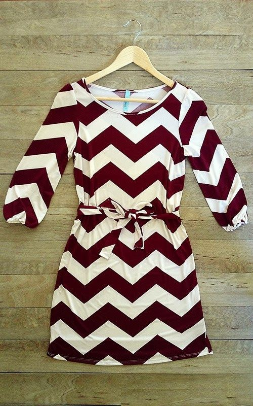 Beautiful maroon chevron print sleeve dress fashion style  e17bfd3b6