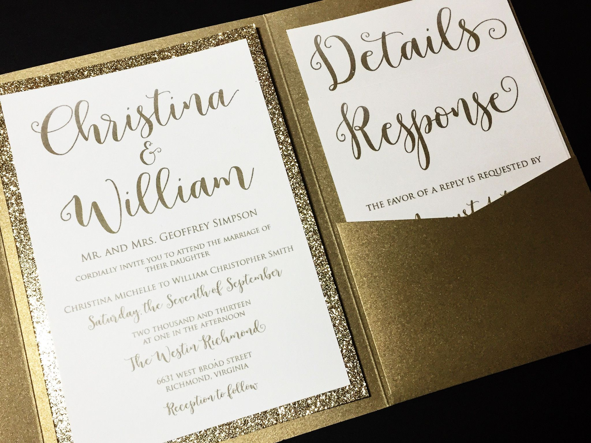 This listing is for a sample of a layered pocketfold wedding invitation with a glitter cardstock
