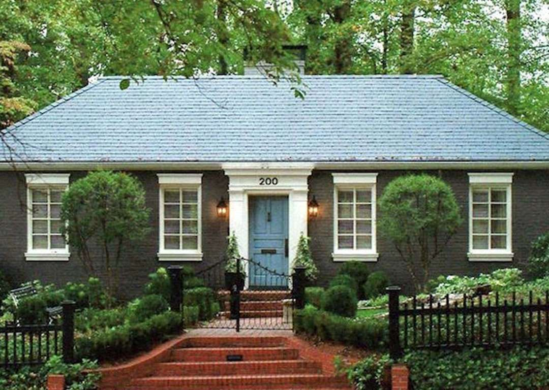 A Few Coats Of Forest Green Paint On The Exterior New Roof Bright Blue Door Crisp White Windo Laurelberninteriors And Nancy Keyes