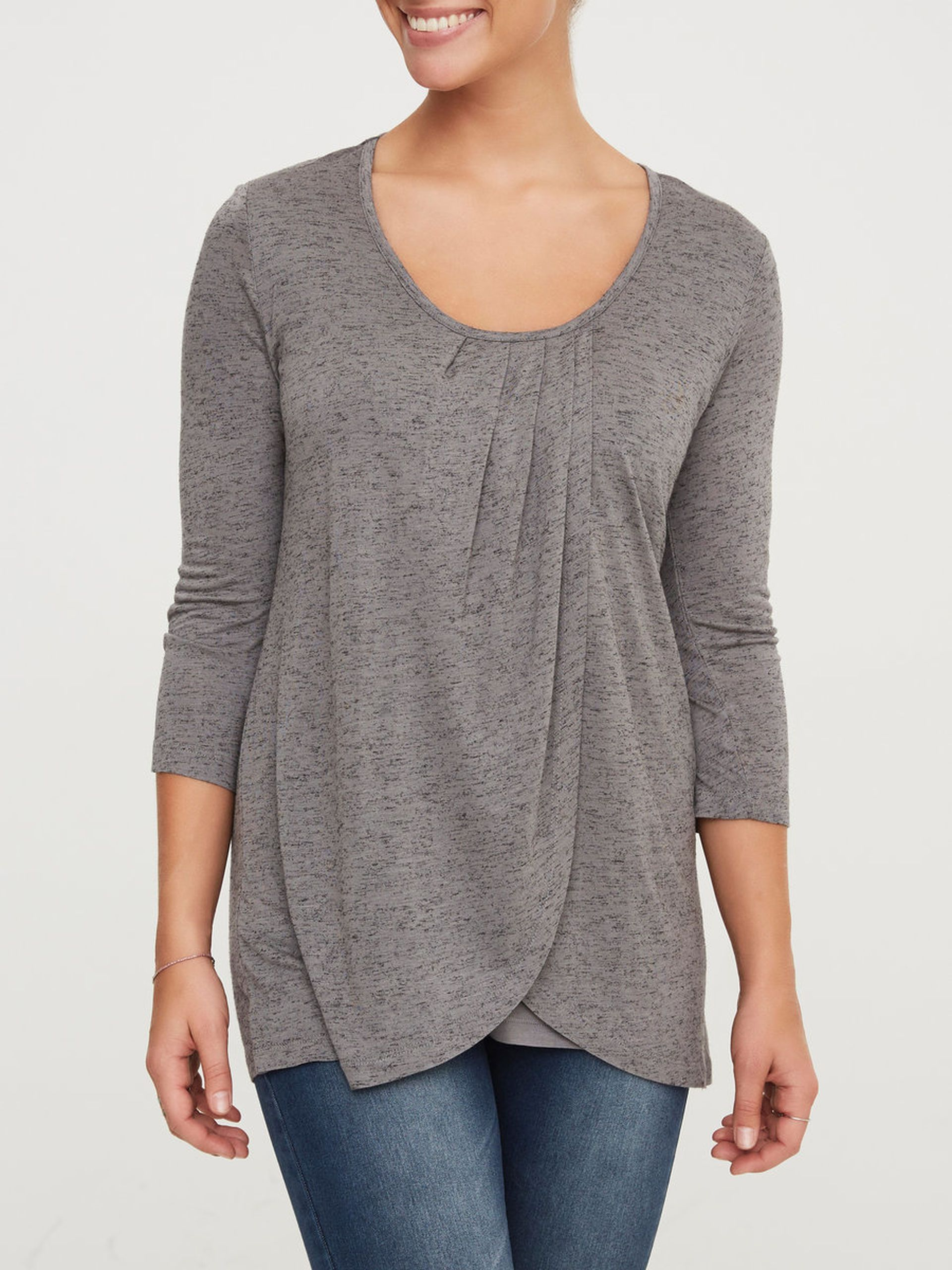 JERSEY PLEATED NURSING TOP, 3/4 SLEEVED