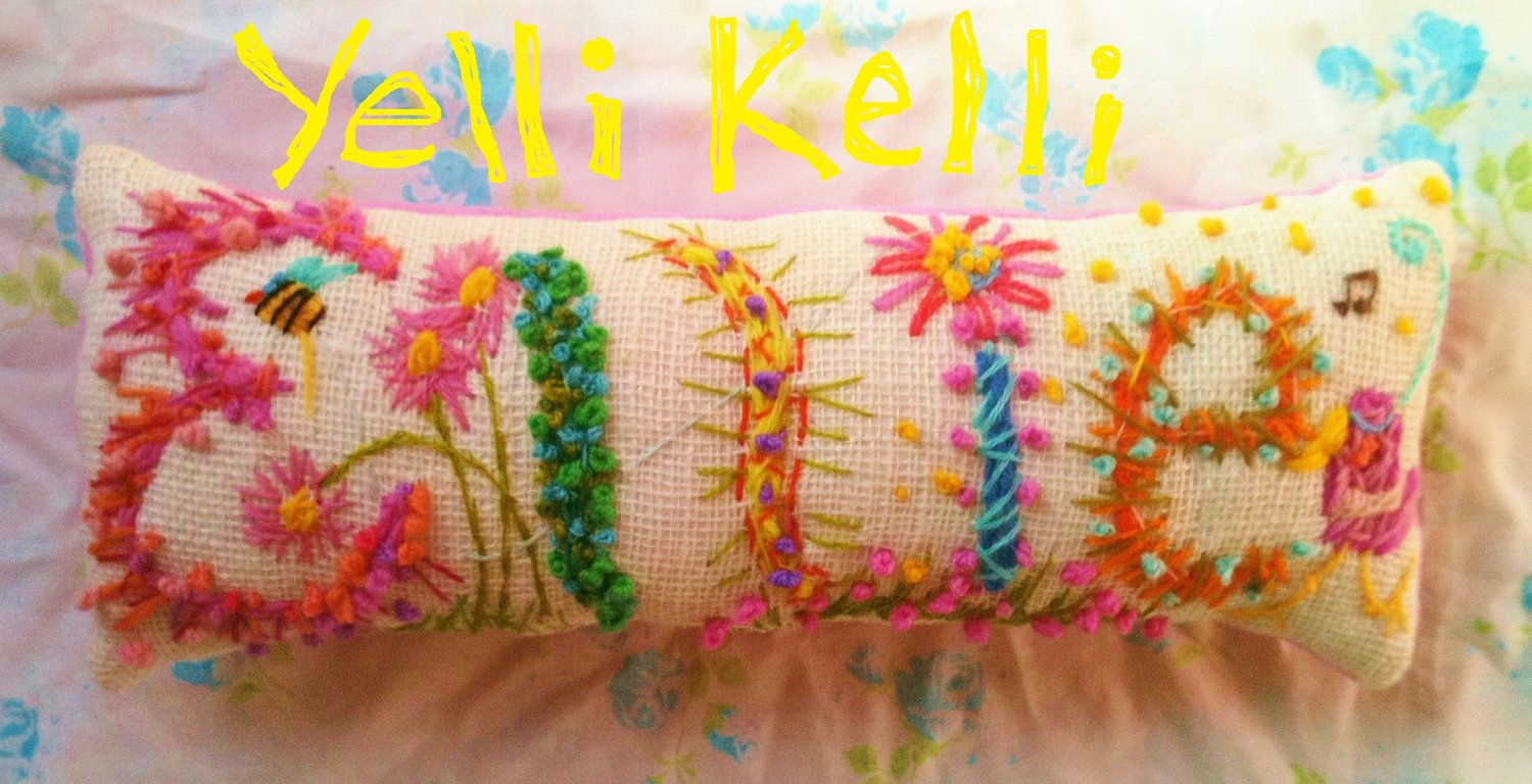 Freehand Embroidered Bohemian Name Pillow Custom Made Up To