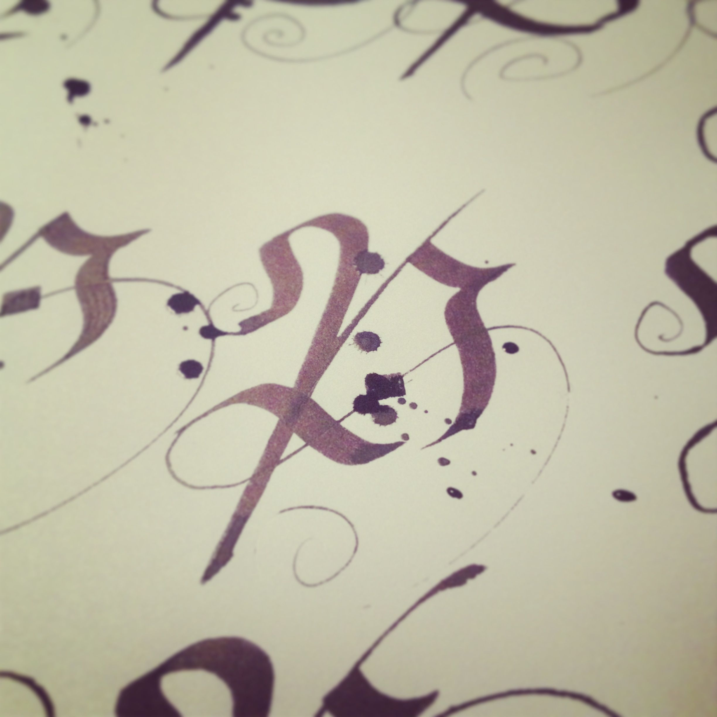 Calligraphy P, lettering.