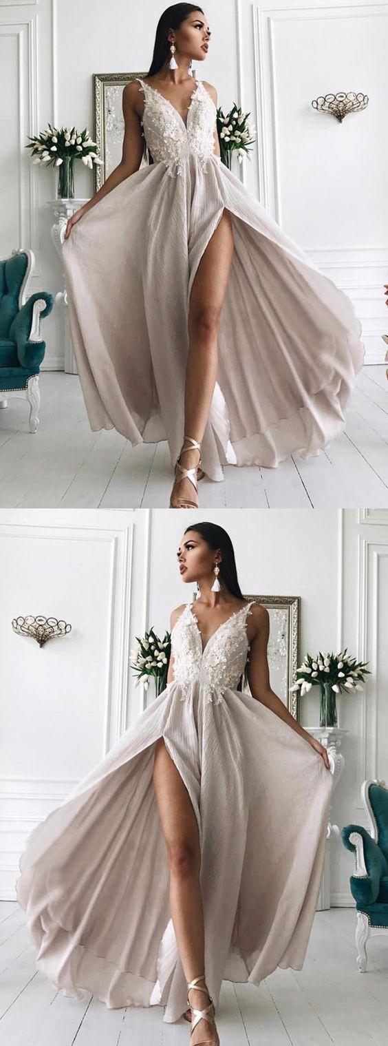 Simple grey v neck prom dresses fashion straps long prom dresses