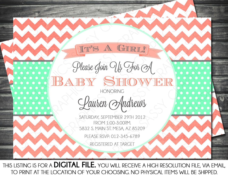 Katie G...Girls Baby Shower Invitation Chevron Gray by ...