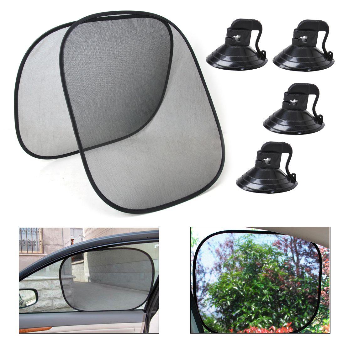 New Arrival High Quality 2pcs Black Foldable Car Side Window Sun Shade  Screen Visor Shield Cover bafaf0cdb31