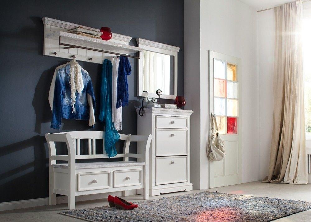 Garderobe Rafael Garderobenset 2 Landhausstil Holz Kiefer Weiß 20878 - schlafzimmerschrank weiß hochglanz