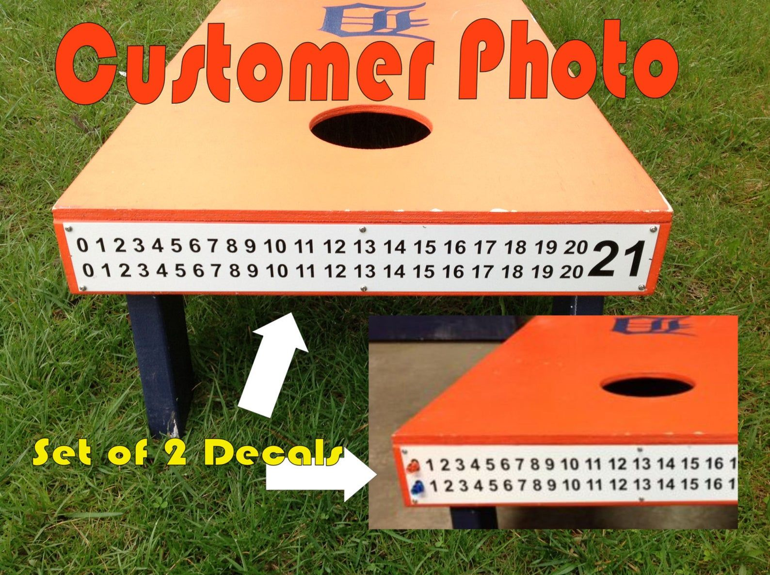 Set Of 2 Cornhole End Cap Scoreboard Decals Version 2 Etsy In 2020 Custom Wine Glasses Diy Signs Cornhole