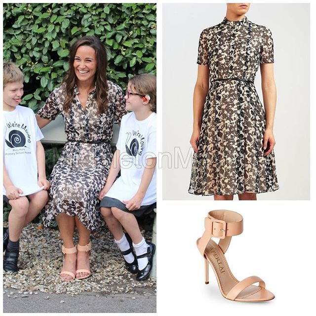 Pippa attended the @maryhareschool for the launch of their Primary Appeal. She wore a @hugoboss dress & @aperlaiparis sandals. Both items are sold out sadly. #pippamiddleton #styleinspiration #getherlook #getthelook #fitspo #ootd#hugoboss #chic #cute#love#summer#dress#paris#london#katemiddleton #british