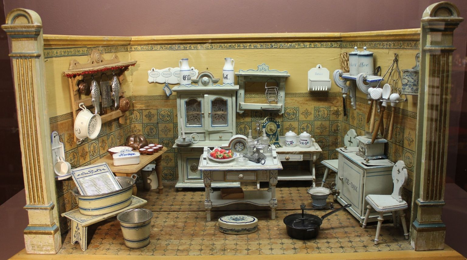 kitchen with wash tub in lower corner miniature rooms