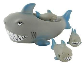 Rubber Shark Family Bathtub Pals Floating Bath Tub Toy By