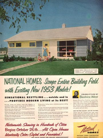 1952-53 National Homes print ad Mid Century house model Modern - House Advertisements