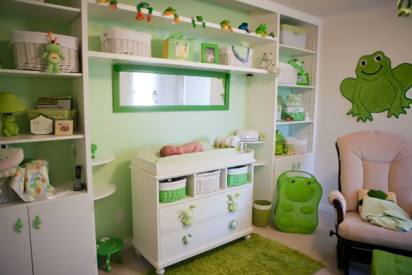 Green Frog Nursery Theme We Used Diffe Shades Of Patterns Fabric