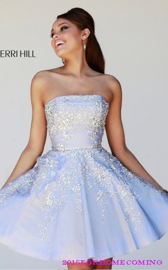 Sherri Hill 21362 Periwinkle Strapless Neckline Homecoming Dress
