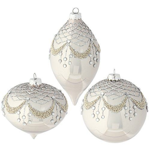raz imports 4 beaded rhinestone gem christmas tree ornaments set of 3
