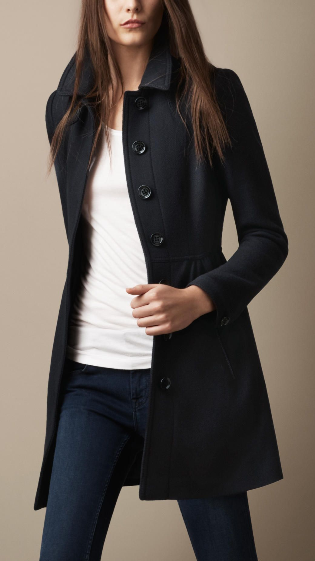 Women's Blue Wool Twill Dress Coat | Burberry brit and Navy
