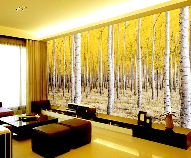 Custom nature wall mural, birch forest scenery for the sitting room ...