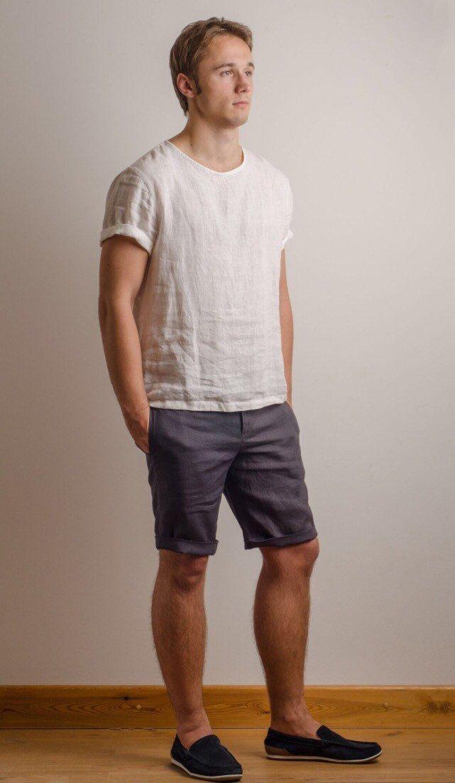 Men linen shirt t-shirt top short sleeve beach party summer relaxed shirt EvANK5c