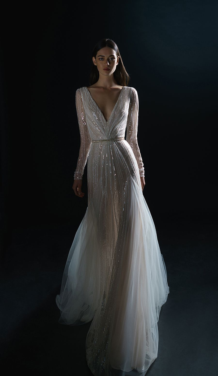 """56d4630d03c7 Sleeve striped beaded fabric dress // Inbal Dror debuted a new diffusion  line """"for every bride who wants an Inbal Dror dress, even if she can't do  couture""""."""